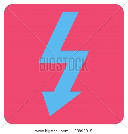 High Voltage vector icon symbol. Image style is bicolor flat high voltage iconic symbol drawn on a rounded square with pink and blue colors.