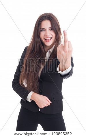 Happy smiling business woman showing obscene insulting middle finger gesture isolated on white background