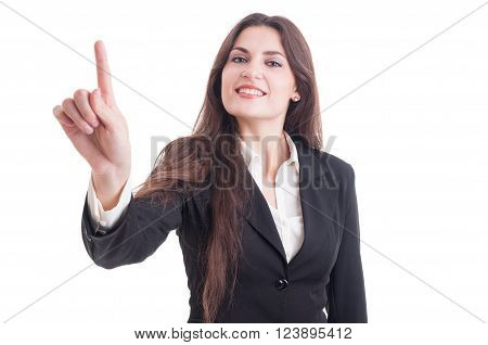 Beautiful Business Woman Touching Transparent Screen With Index Finger