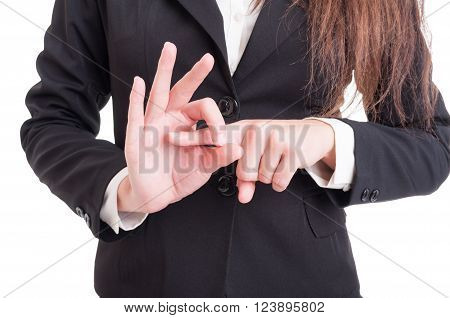 Business Woman Hand Making Index Finger In Hole Sexual Gesture