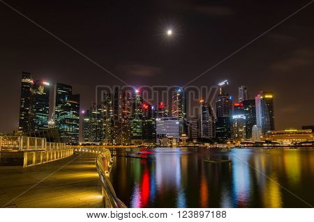 SINGAPORE - JUNE 27 2015 : Landscape of the Singapore financial district on June 27 2015 in Singapore.