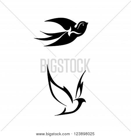black stylized vector illustrations of birds swallows linear logo in the form of a bird on a white background