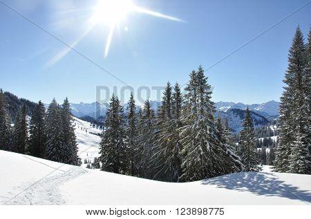 Uitzicht over een winterlandschap tijdens een ski vakantie