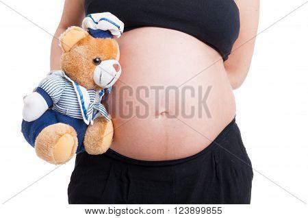 Big Pregnant Woman Belly And Plush Teddy Bear