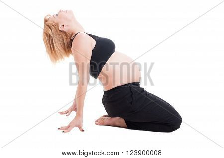 Side view of attractive young pregnant woman stretching isolated on the white floor