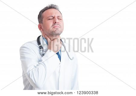 Doctor Or Medic Suffering Of Sore Throat