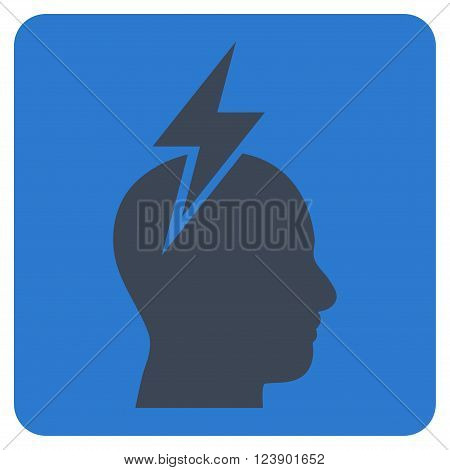 Headache vector pictogram. Image style is bicolor flat headache pictogram symbol drawn on a rounded square with smooth blue colors.