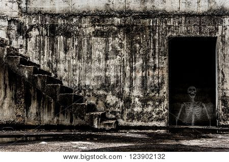 Abandoned building ghost living place human skeleton inside abandoned building darkness horror and halloween background concept