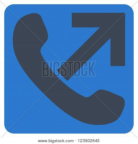 Outgoing Call vector icon symbol. Image style is bicolor flat outgoing call iconic symbol drawn on a rounded square with smooth blue colors.