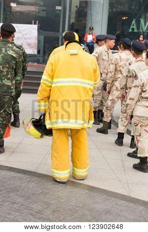 Firefighter In Mock Disaster Drill