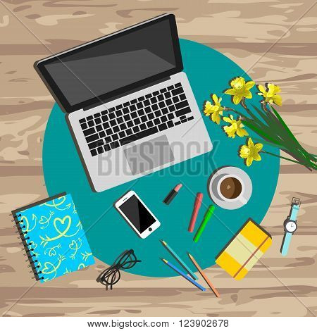 Woman working desk top view. Working place vector illustration. Working tools set