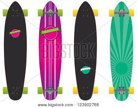 set of two colorful longboard skateboard design vector eps.8