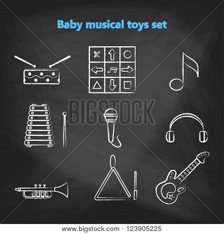 Set of vector chalk icons of musical instrumen. Vector illustration in  white chalk line style. Collection vector elements for web design, mobile applications, design flyers, discounts and advertising