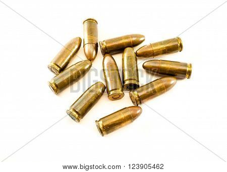 11mm bullets for a short gun. 45 Automatic Colt Pistol (ACP) bullets isolated on white background.