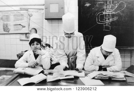 VITEBSK BELARUS - 1986: First year students of the Vitebsk of the Order of Friendship of Peoples Medical Institute are in the classroom at the Department of Anatomy (1986) Vitebsk Belarus
