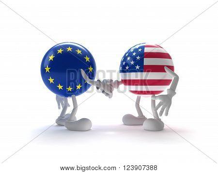Representatives of the US and the EU shake hands