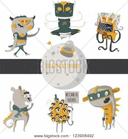 Vector illustration with cute an funky space invaders with little planet. Set of aliens isolated on white background standing and walking humor characters like scientist researcher yogi.