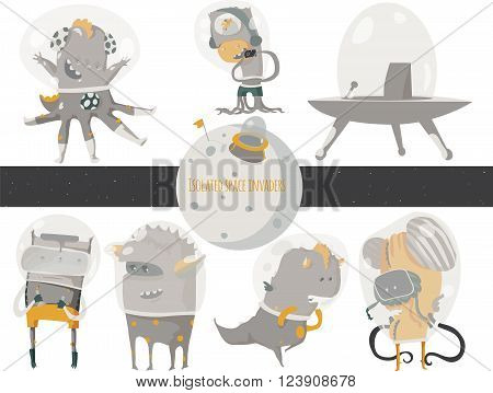 Vector illustration with cute an funky space invaders with spaceship and little planet. Set of aliens isolated on white background sitting and standing humor characters like scientist researcher.