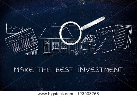make the best investment: house, stats, real estate and contract with magnifying glass