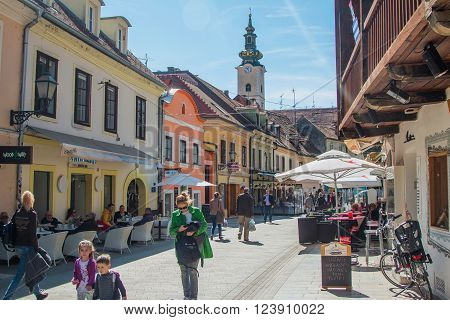 Zagreb, Croatia-March 31th, 2016: Old Tkalciceva street in Zagreb, capital of Croatia. Tkalciceva is prominent tourist location in Zagreb with cafes, bars and restaurants.
