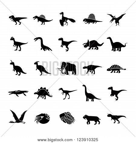Prehistoric animals like dinosaur glyph vector icons