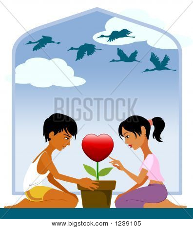 two young people at the valentines flower near the window poster