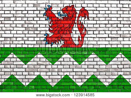 flag of Westland painted on brick wall