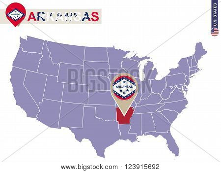 Arkansas State On Usa Map. Arkansas Flag And Map.