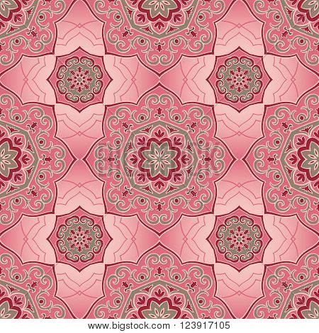 Oriental seamless pattern of mandalas. Vector pink ornament. Template for shawls scarves blankets textiles carpet linens.