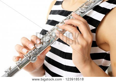 Woman with flute isolated on white poster