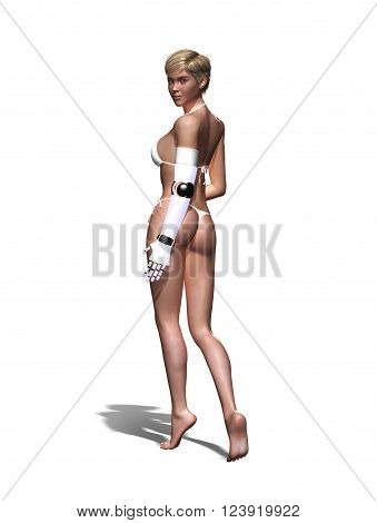 3D render of a attrative woman with a replacement arm.