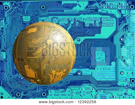 flying object (yellow circuit board as a sphere) on blue background (another circuit board) poster