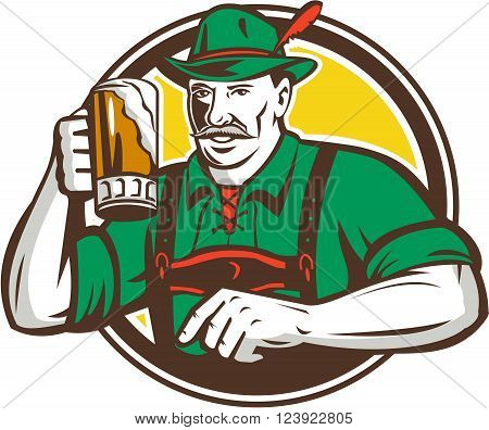 Illustration of a German Bavarian beer drinker raising beer mug for Oktoberfest toast wearing lederhosen and German hat set inside circle done in retro style.