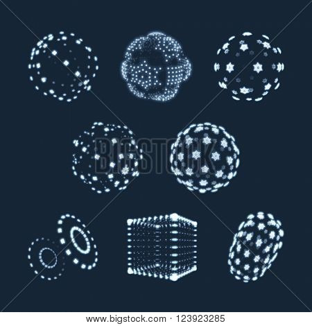 Sphere, Cube and Cylinder. Illustration Consisting of Points. Abstract 3D Grid Design. A Glowing Grid. 3D Technology Style. Molecular lattice. Network Design. Cyberspace Grid. Connection Structure.