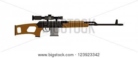 Steel sniper rifle and war sniper gun. Sniper rifle crime gun machine, special fire gun. Vector heavy assault large arms carbine sniper rifle futuristic weapon with grenade launcher military gun.