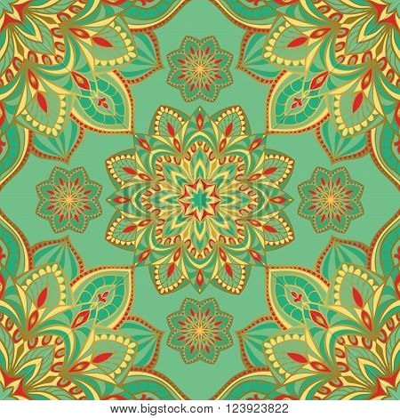 Seamless eastern pattern of mandalas on a turquoise background. Vector elegant ornament. Stylized template for embroidery shawl tapestry carpetwrapping textile.