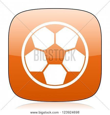 soccer orange square glossy web icon