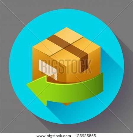 Delivery and free return of gifts or parcels. Shipping Concept icon for internet store. Flat design