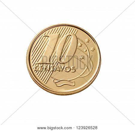 photo on the Brazilian currency close estudio de ten cents on white background