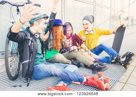 Group of teens making activities in an urban area. concept about youth and friendship