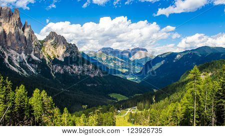 View of the Fassa Valley in the Dolomites in Trentino northern Italy