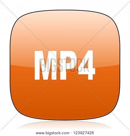 mp4 orange square glossy web icon