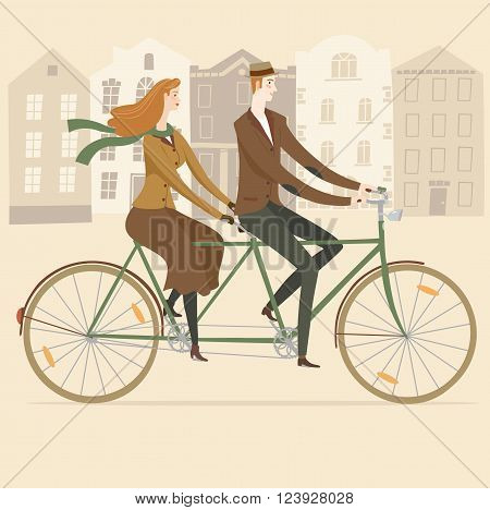 Elegant man cyclist and lady cyclist on vintage tandem bicycle on old city background. Colorful editable vector illustration for your design.