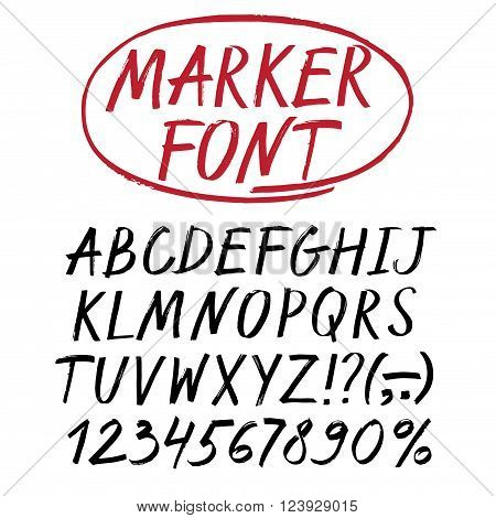 Hand drawn textured vector ABC letters and figures set. Marker style alphabet. Artistic font for your design.