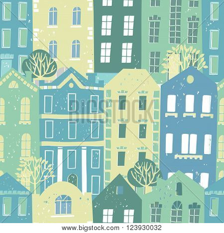 Vector seamless pattern with colorful European style houses.Grungy printmaking style illustration. Architecture background.