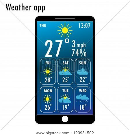 Modern smartphone with weather app on the screen. Flat design template for mobile apps Vector illustration