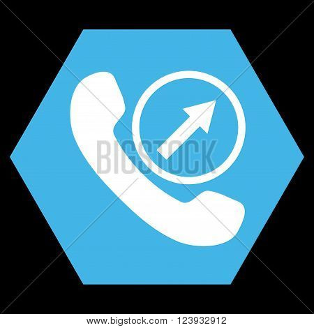 Outgoing Call vector icon symbol. Image style is bicolor flat outgoing call iconic symbol drawn on a hexagon with blue and white colors.