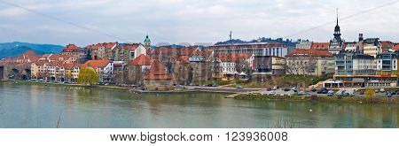 Town of Maribor riverfront panoramic view Slovenia