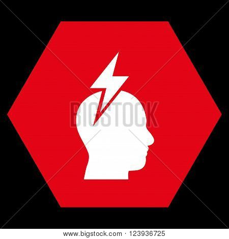 Headache vector icon. Image style is bicolor flat headache icon symbol drawn on a hexagon with red and white colors.