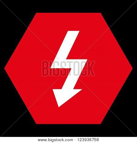 High Voltage vector symbol. Image style is bicolor flat high voltage pictogram symbol drawn on a hexagon with red and white colors.